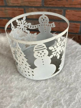 Bath and Body Works 3 Wick Candle Holder Snowman Christmas Trees Snowflakes - $4.90