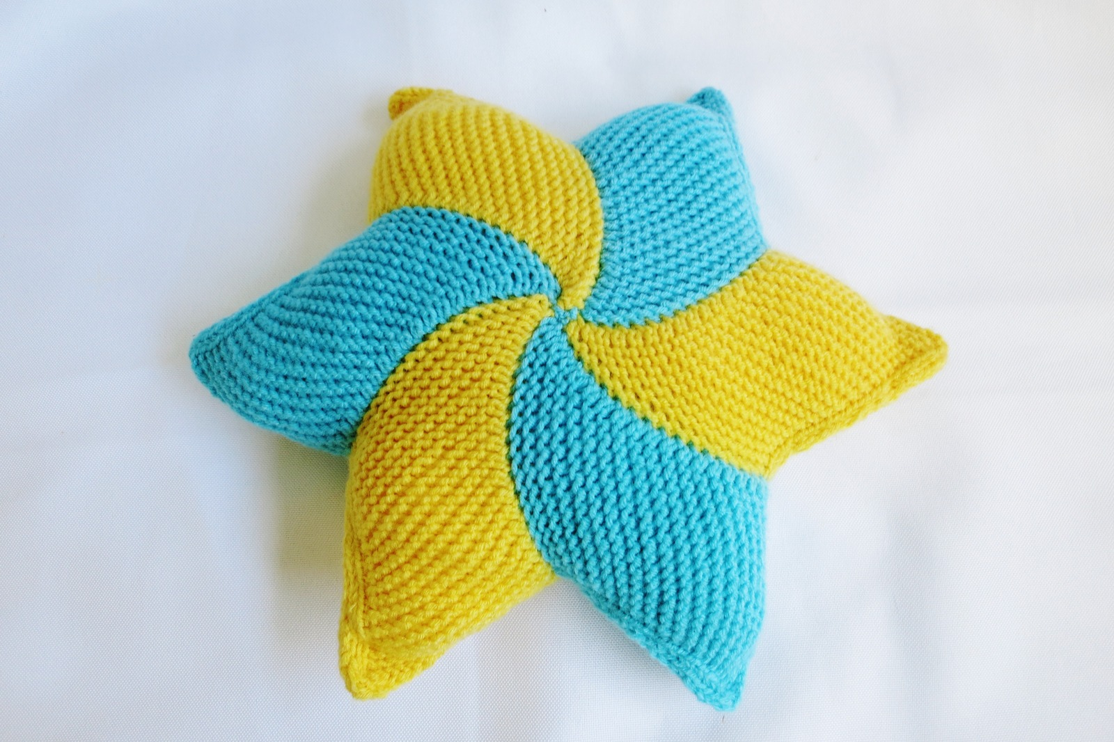 Handmade decorative star pillow knitted home decor rustic azure yellow pillows - Home accessories yellow ...