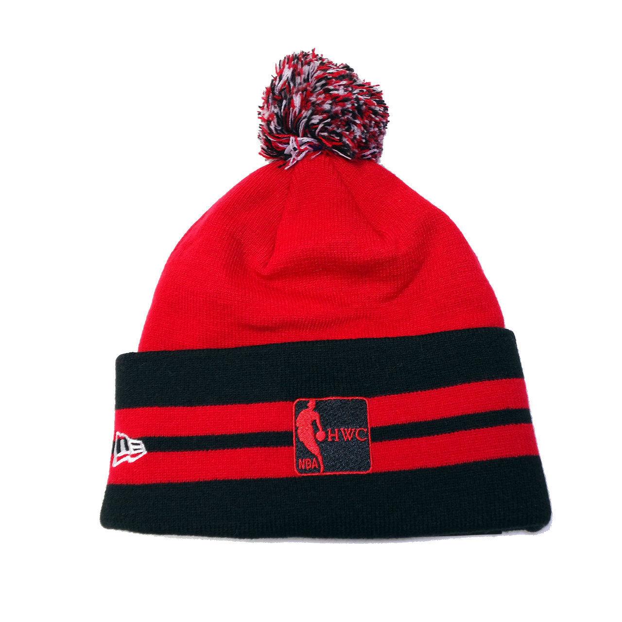 New Era NBA Miami Heat Red Logo Wide Top Cuffed Knit Pom Beanie Hats
