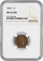 1868 1c NGC MS63 BN - Better Date - Indian Cent - Better Date - $480.15