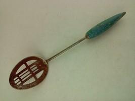Vintage Slotted Spoon Turquoise Wood Handle - $17.45