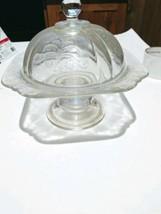 Vintage Pedestaled crystal Pie/Butter dish with lid - $17.82