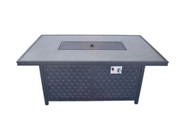 Fire pit propane coffee table height rectangular outdoor cast aluminum patio image 2