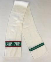 Vintage 7 Up Memorabilia Soda Scarf Winter Collectible Knit Ski White Green - $14.84