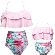 Mother Daughter  Ruffle Halter Backless High Waisted Bikini Set - $29.99