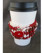 To Go Cup Cozy Sleeve in red brown and white with red ceramic apple shap... - $5.95