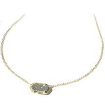 NEW Kendra Scott Elisa Gold Sparkling Platinum Drusy Quartz Necklace Dus... - $49.68