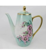 Vintage Royalton Hand Painted Tall Coffee Pot Pink Wild Roses Japan Signed! - $155.00