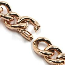 18K ROSE GOLD BRACELET ONDULATE ROUNDED GOURMETTE CUBAN CURB LINKS 9.5 mm, 18cm image 3