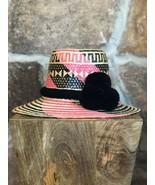pink black Wayuu Hat Woven Straw HandCrafted Stylish Pom pom Panama Hat ... - $75.00
