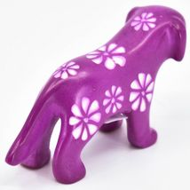Vaneal Group Hand Carved Kisii Soapstone Fuchsia Standing Puppy Dog Figurine image 4