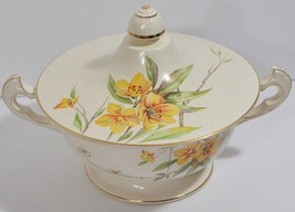 Classic Satin Tiger Lily Covered Dish w/Handles Knowles Orange Floral Vi... - $22.24