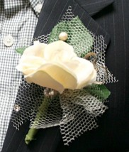 White-off Flower Boutonniere, Wedding Accessories, Prom - $7.99