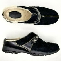 Cole Haan Mirabel Mule Clogs Womens Size 8 B Suede Sherpa Waterproof Shoes Black - $37.39
