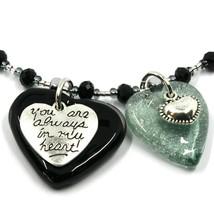 Necklace Antica Murrina Venezia, COB60A14, Double Heart Glass Black Pendant image 2