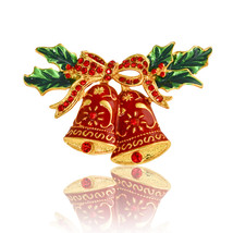 Christmas Gift Jewelry Alloy Bell Broochred Rhinestone Brooch Pin Access... - $7.99