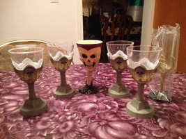 Halloween Scary Skull Skeleton Hand Claw Chalices Glasses Goblets New Ra... - $34.99