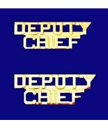 Deputy Chief Collar Pin Set Gold Cut Out Letters Heros Fire Dept Police ... - $15.49