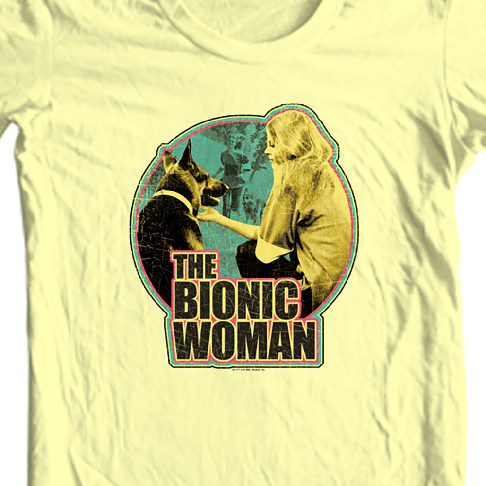 Bionic Woman T-shirt retro 70's 80s TV graphic tee Six Million Dollar Man NBC313