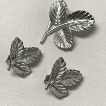 Vintage Sarah Coventry Silver Tone Three Leaf Earrings And Brooch Pin Set - $13.86