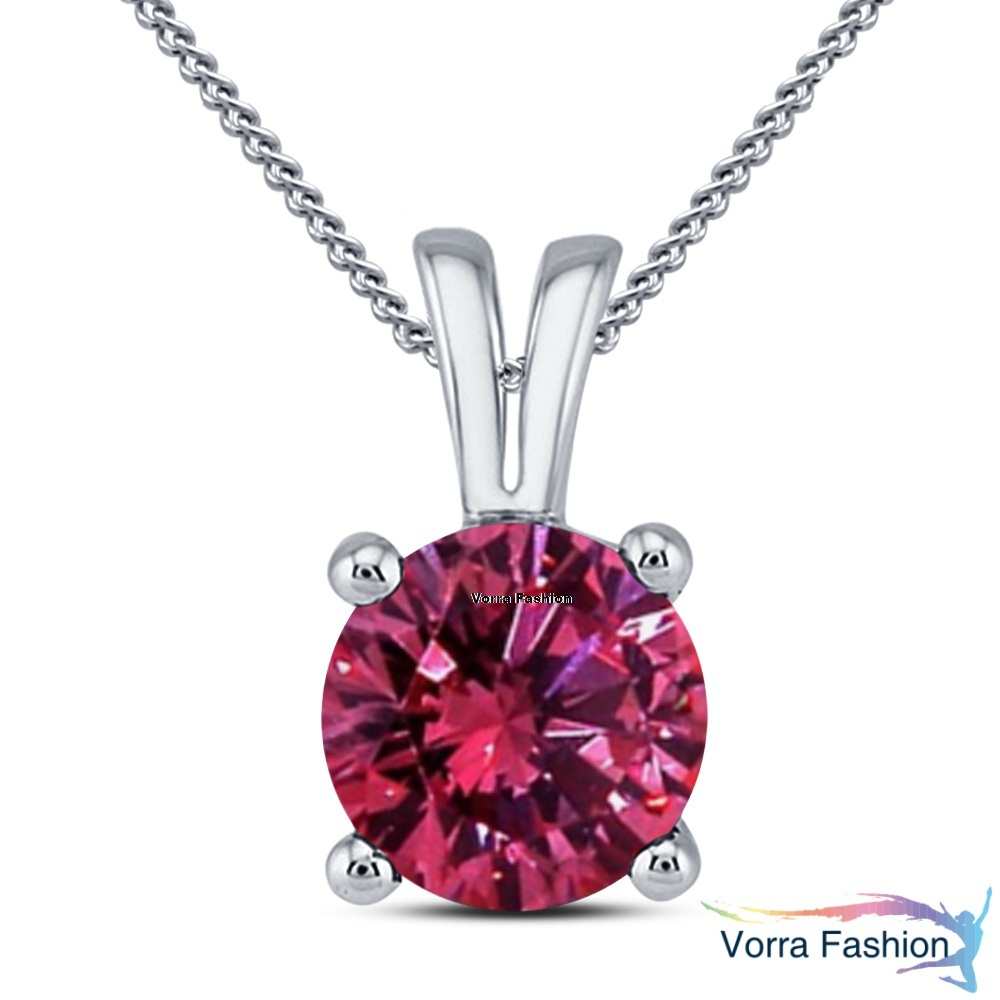 Solitaire Pendant Necklace Daily Wear Pink Sapphire White Gold Plated 925 Silver