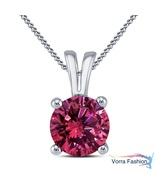 Solitaire Pendant Necklace Daily Wear Pink Sapphire White Gold Plated 92... - £27.06 GBP