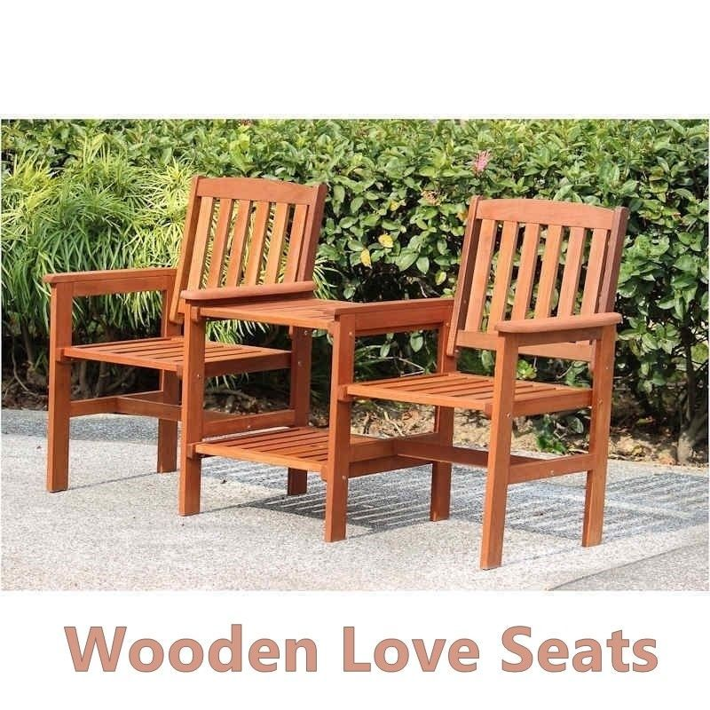 Wooden Love Seat Solid Garden Patio Pair Of Armchairs Set  & Side Table Compact  image 2