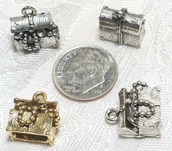 TREASURE CHEST FINE PEWTER PENDANT CHARM - 13x14x8mm image 2