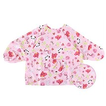Pink Cotton Waterproof Sleeved Bib Baby Feeding Bibs Art Smock, 2 PCS£¬2-4 Years image 2