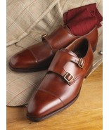 Handmade Men Brown double monk formal Shoes Men brown dress shoes Men mo... - $164.99