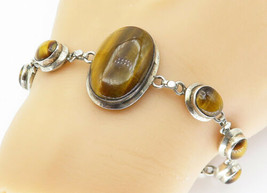 925 Sterling Silver - Vintage Cabochon Cut Tiger's Eye Chain Bracelet - ... - $71.71