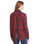 Sam Edelman Red Plaid Roll Sleeve Zip Back Shirt XS - $30.00