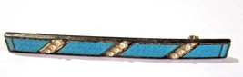 BAR PIN DAINTY TURQUOISE BLUE COLOR ENAMEL WITH FAUX SEED PEARLS VINTAGE - $29.00