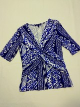 womens Cable & Gauge blue/white geometric pattern short sleeve knit top ... - $6.79