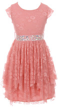 Flower Girl Dress Floral Lace Ruffle Layers Skirt Rose JKS 2095 - $29.69+