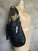 Cole Haan Black Wide Woven Leather Hobo Shoulder Purse Bag Tote TASSEL Heavy - $144.96