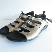 Ecco Sandals 38 7 7.5 Leather Metallic Lace Up Toggle Comfort Ankle Strap - $18.51
