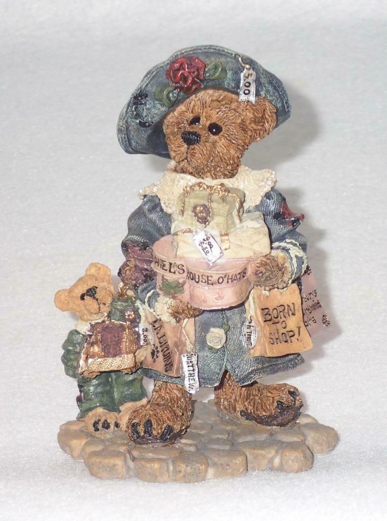 Boyd Bearstone Resin Bears 1997 Grace and Jonathan Born To Shop Figurine 25E