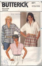 6471 Vintage Butterick Sewing Pattern Misses Loose Fitting Blouse Notched Collar - $4.84