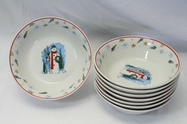 """Enchanted Forest Snowman Xmas Soup Bowls 7"""" Lot of 8 - $48.99"""
