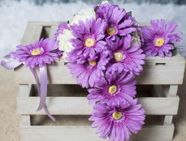 Cascade Purple Lavender and White Wedding Bouquet 3pc Set Daisies Rhines... - $17.75