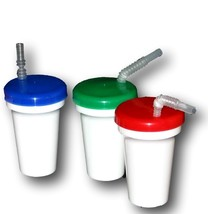 3  Sippy Cup  White with Blue, Red, Green Lids & Flex Straws Mfg. USA, D... - $13.37