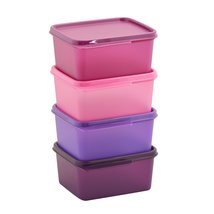 Tupperware Keep Tab Plastic Container Set, 500ml, Set of 4, Multicolour ... - $37.99