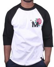 Motivation Ann Arbor Mens Black White Rose Unbeaten 3/4 Sleeve Raglan T-Shirt