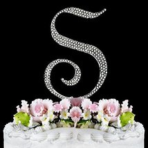 Monogram Cake Toppers Full Covered Sparkling Crystal Cake Toppers Silver... - $13.10