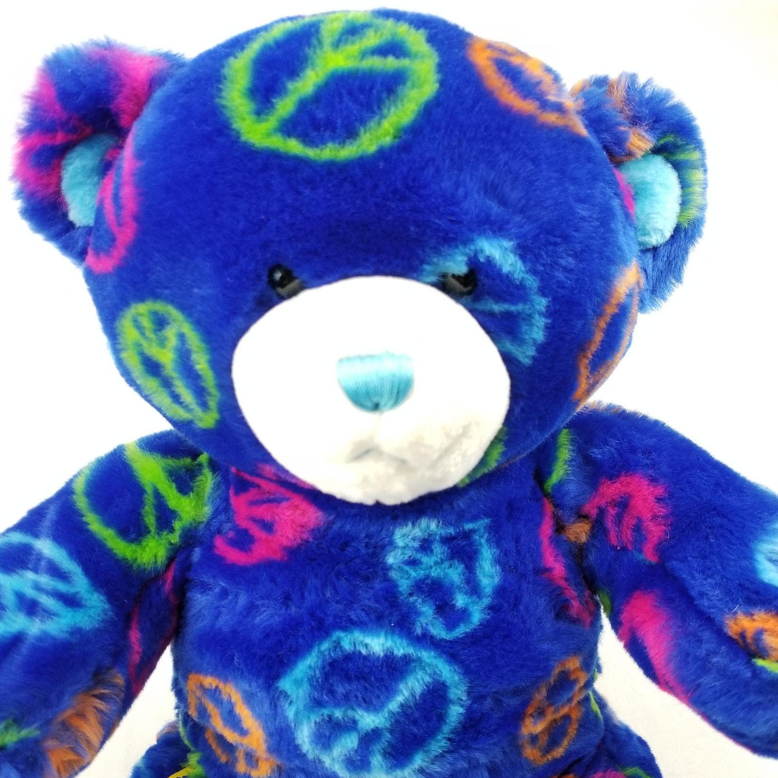 """Build A Bear Blue Teddy Plush Peace Sign Stuffed Animal 15"""""""