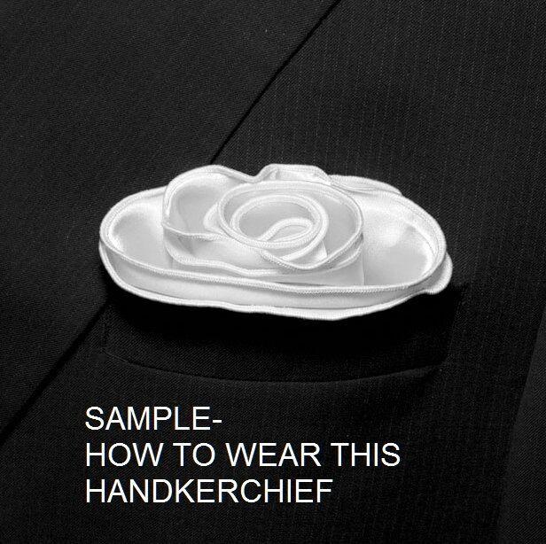 BLACK Silk RED border Trim Pocket square Round Handkerchief edge NEW $45 image 3