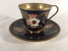 Vintage Enamelled Brass Cup And Saucer (ref B403) - $16.67
