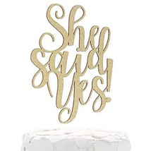 NANASUKO Engagement Party Cake Topper - She said Yes! - Double Sided Gold Glitte