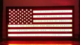 """Wood Framed led sign  Flag 24"""" x 12"""" pledge of allegiance  20 color remote - $120.00"""